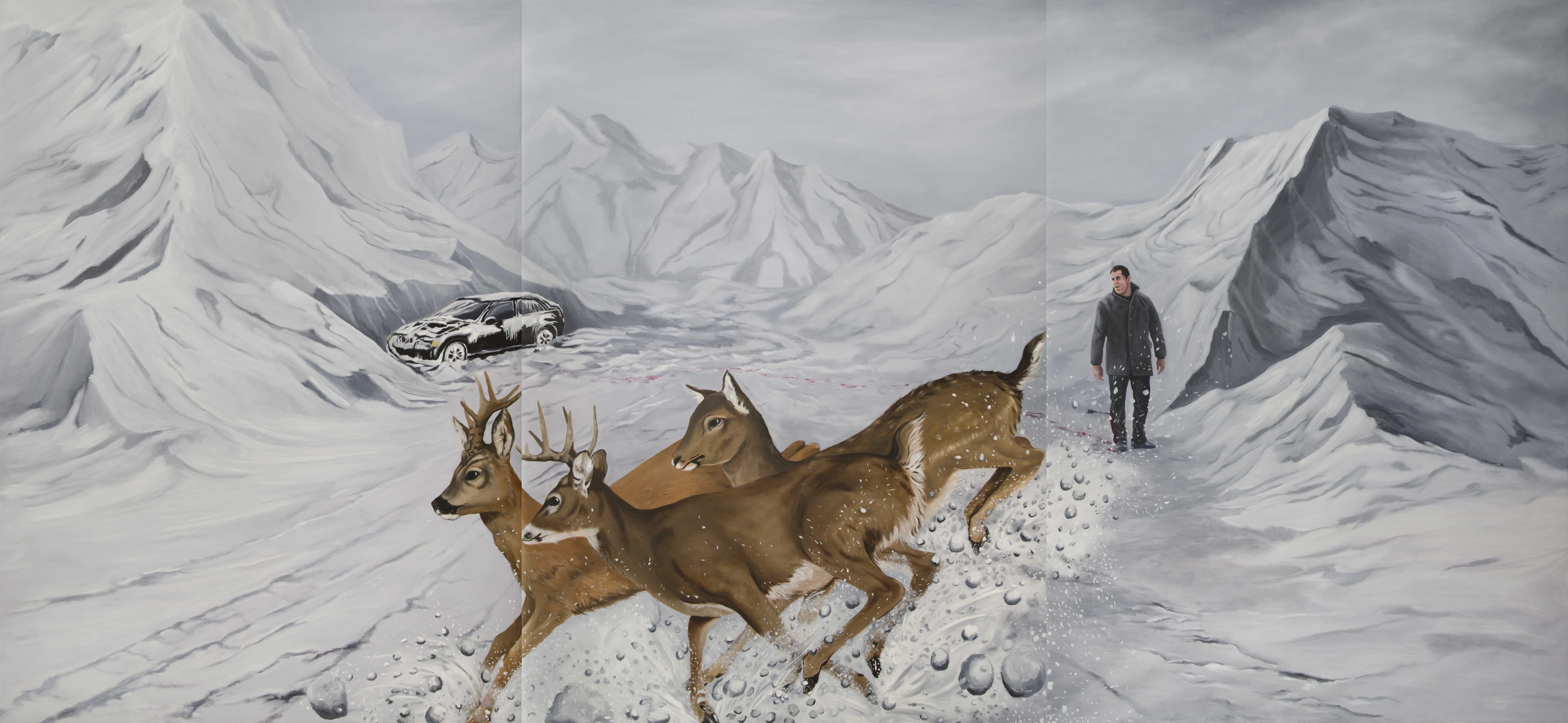 İsimsiz- Untitled, 2017, Tuval Üzerine Yağlıboya- Oil on canvas, 180×390 cm.